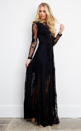 Black Lace V Neck Maxi Dress by Glamorous