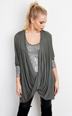 KHAKI SEQUIN CROSSOVER TOP by Bella and Blue