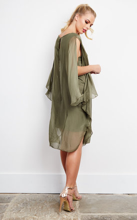 KHAKI SILK SLEEVELESS by Lilah Rose
