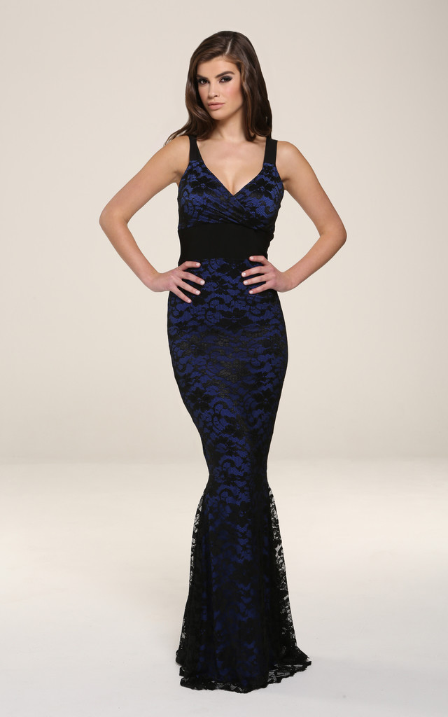 Gabriella Black/Blue Underline Maxi Dress by Honor Gold