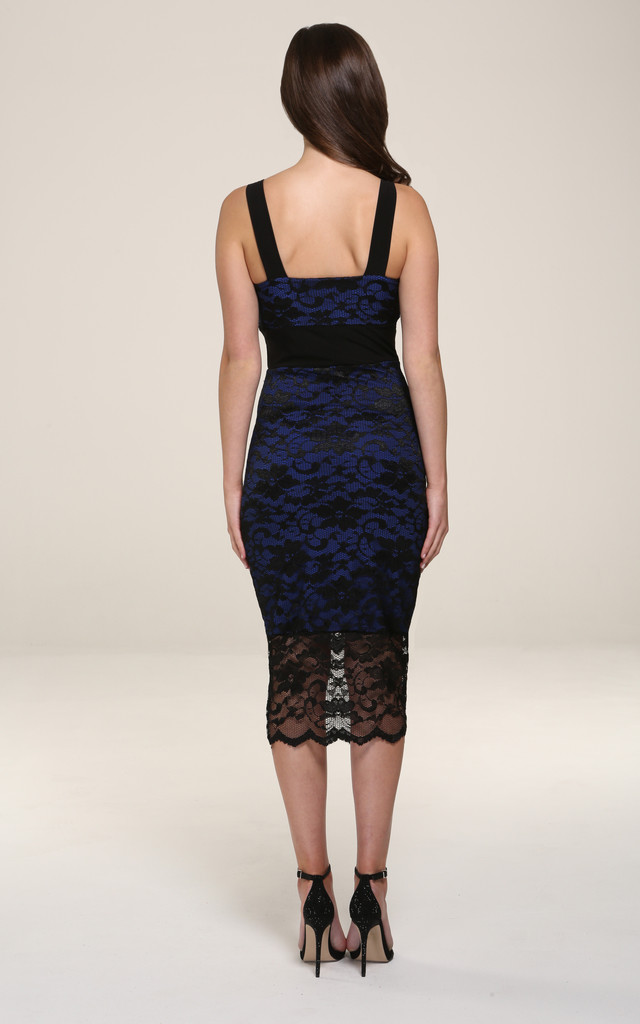 Gabriella Black Lace With Blue Underline Midi Dress by Honor Gold