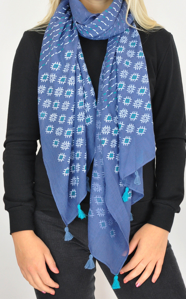 WOVEN OVERSIZED TASSEL SCARF in in BLUE PRINT by GOLDKID LONDON