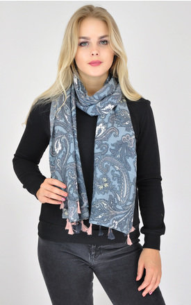 Oversized Woven Scarf with Tassels in Grey Paisley Print by GOLDKID LONDON