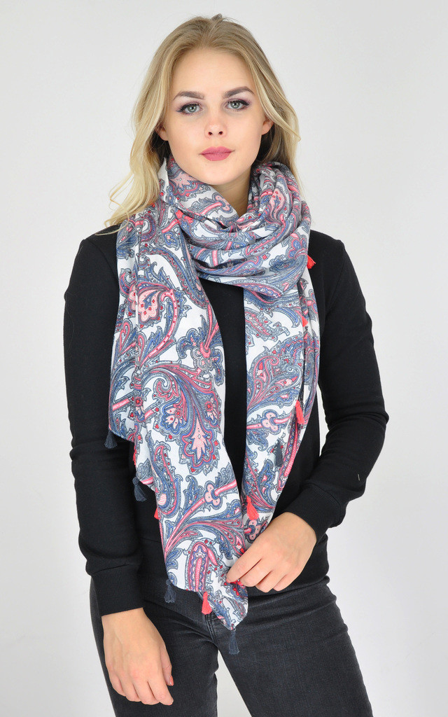 Oversized Woven Scarf with Tassels in Multi Paisley Print by GOLDKID LONDON