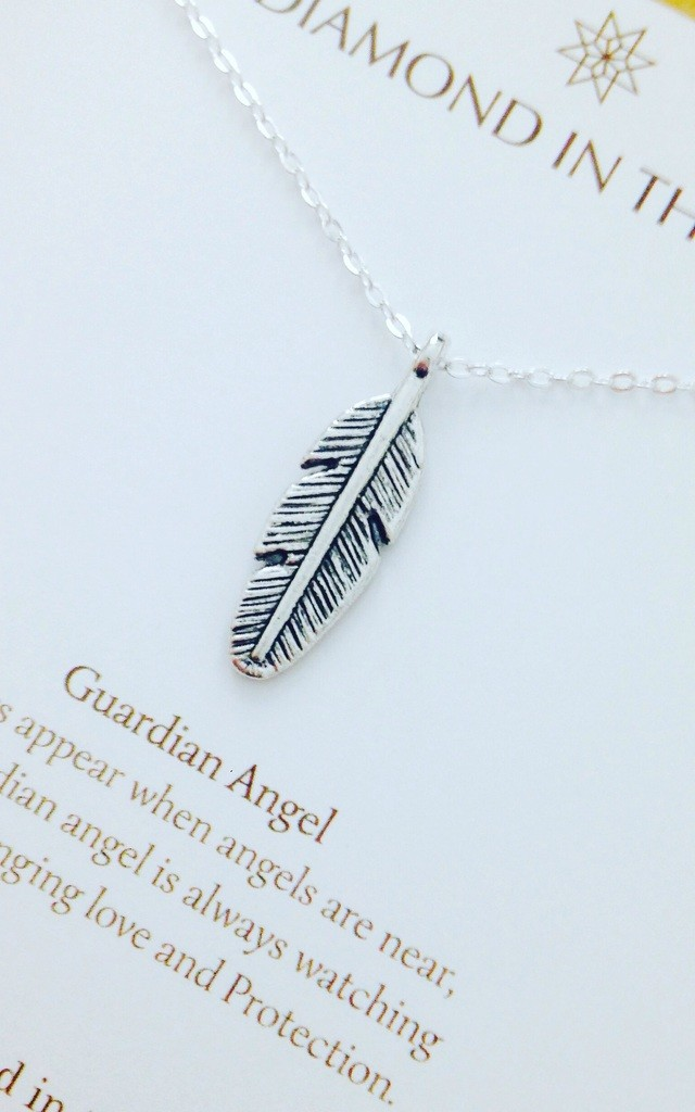 Feather Guardian Angel Gift Card Necklace by Diamond in The Sky