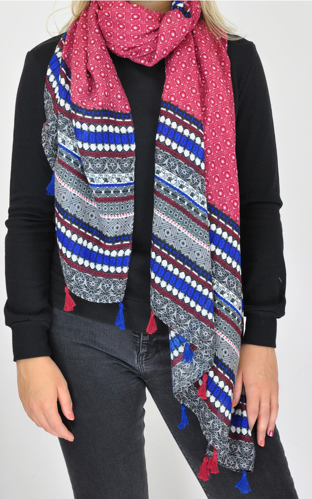 WOVEN OVERSIZED TASSEL SCARF in MULTI MAROON PRINT by GOLDKID LONDON