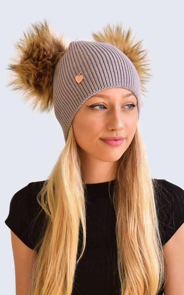 Double Light Grey Hat with Brown Faux Fur Poms by Amelia Jane London