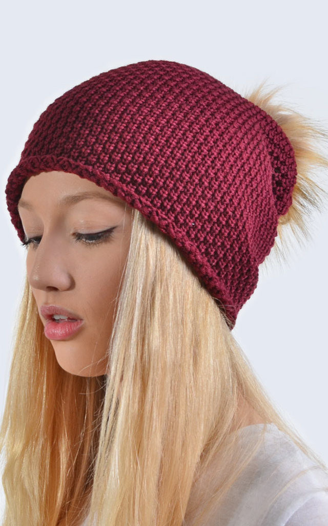 Merino Wool Burgundy Slouch Hat with Brown Faux Fur Pom Pom by Amelia Jane London