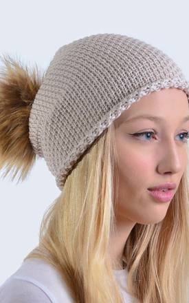 Merino Wool Oatmeal Slouch Hat with Brown Faux Fur Pom Pom by Amelia Jane London