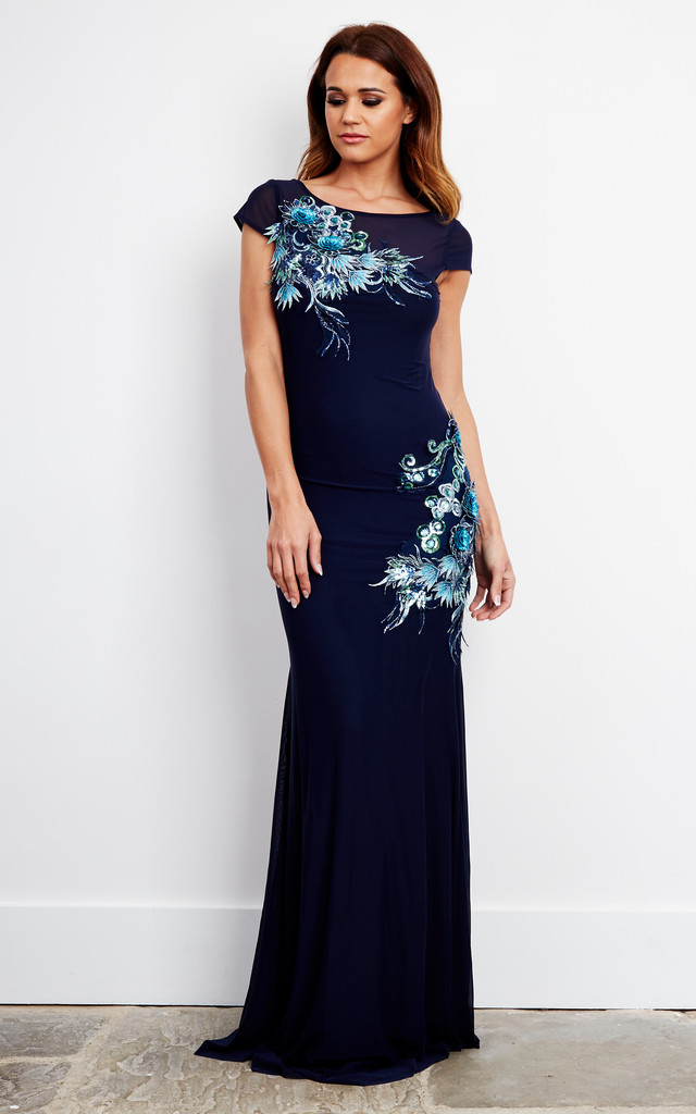 Blue Sequin Embroidered Maxi Dress by D.Anna