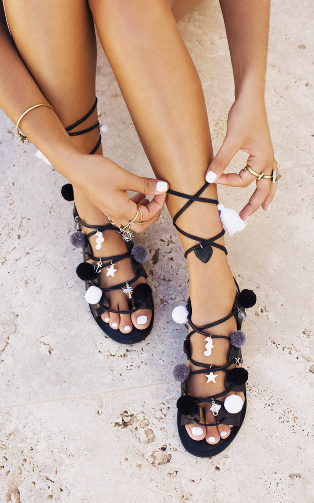 English Summertime leather pompom sandals by What Frankie Did Next