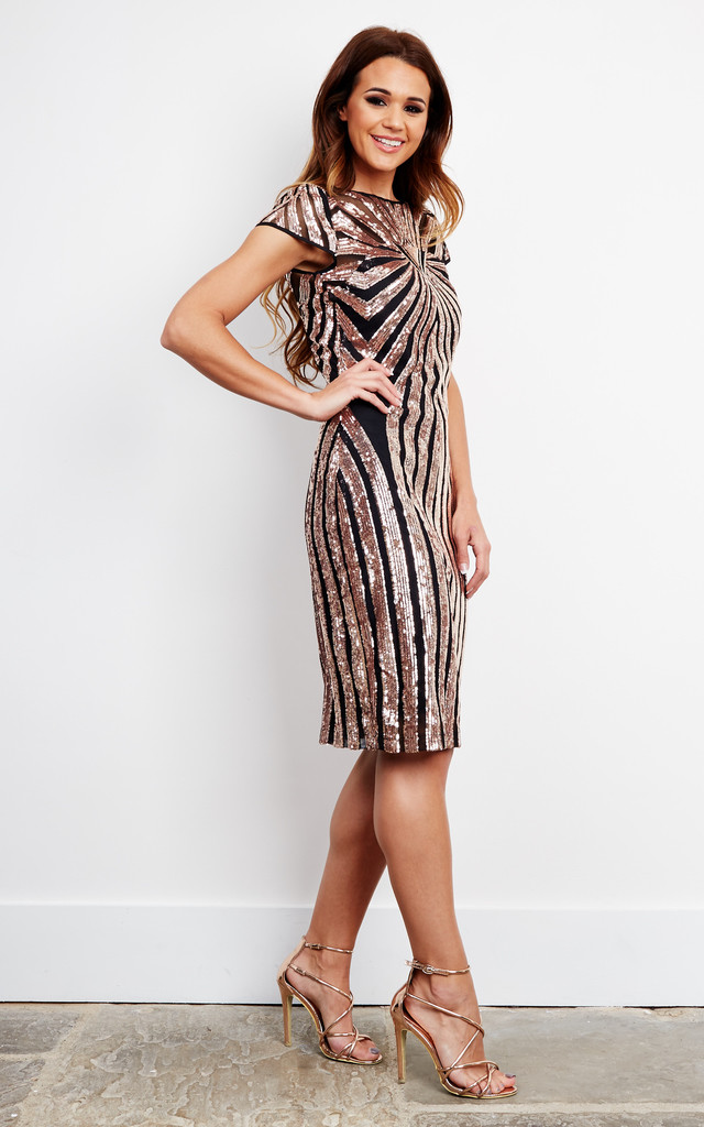 Sequin embellished midi dress in bronze by D.Anna