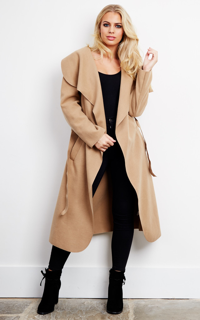 Naomi Waterfall Shawl Collar Coat In Camel Silkfred