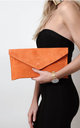 Orange Suede Envelope Clutch Bag by Pretty Lavish