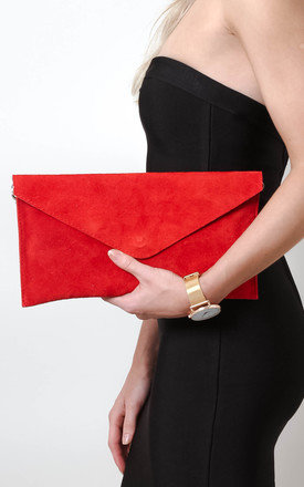 Bright Red Suede Envelope Clutch Bag by Pretty Lavish Product photo