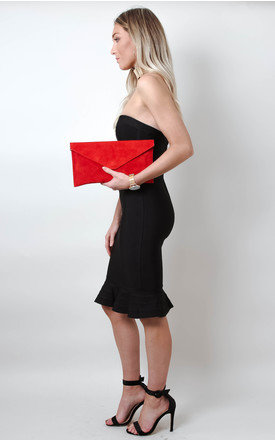 Bright Red Suede Envelope Clutch Bag by Pretty Lavish