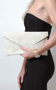 Cream Suede Envelope Clutch Bag by Pretty Lavish
