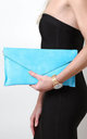 Baby Blue Suede Envelope Clutch Bag by Pretty Lavish