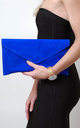 Cobalt Suede Envelope Clutch Bag by Pretty Lavish