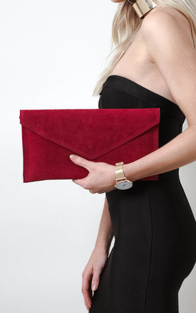Deep Red Suede Envelope Clutch Bag by Pretty Lavish
