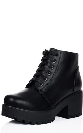 HOTHEAD Lace Up Cleated Sole Platform Block Heel Ankle Boots Shoes - Black Leather Style by SpyLoveBuy