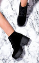 HOTHEAD Lace Up Cleated Sole Platform Block Heel Ankle Boots Shoes - Black Suede Style by SpyLoveBuy