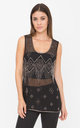 Sheer Cami Tank with Bead Embellishment Black by likemary