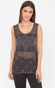 Sheer Cami Tank with Sequin Bead Embellishment Charcoal by likemary