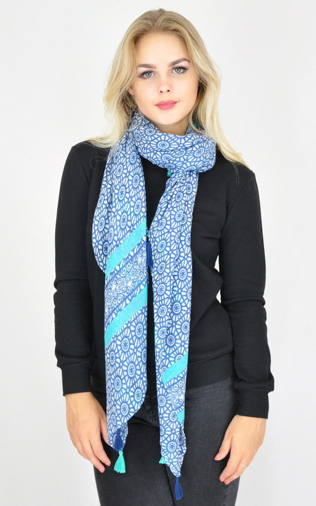 MULTI PATTERNED WOVEN OVERSIZED TASSEL SCARF by GOLDKID LONDON