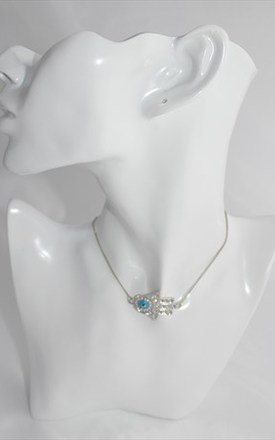Silver crystal lucky eye charm collar necklace by 16 Braunton