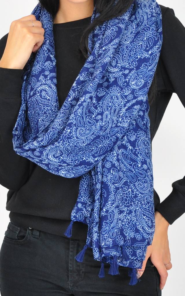 PAISLEY PRINT TASSEL SCARF by GOLDKID LONDON