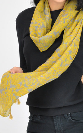 Lightweight Tassel Scarf in Yellow Paisley Print by GOLDKID LONDON