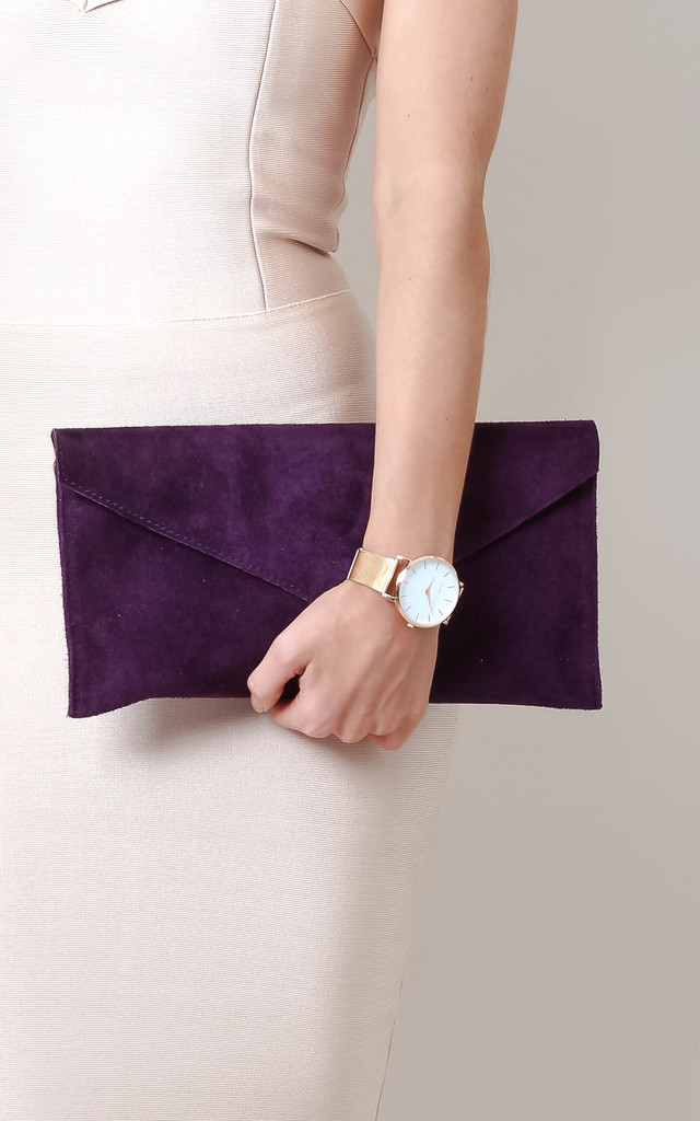 Deep Purple Suede Envelope Clutch Bag by Pretty Lavish