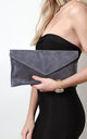 Dark Grey Suede Envelope Clutch Bag by Pretty Lavish