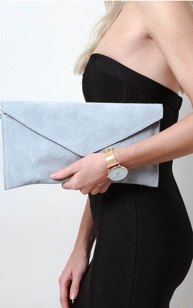 Light Grey Suede Envelope Clutch Bag by Pretty Lavish