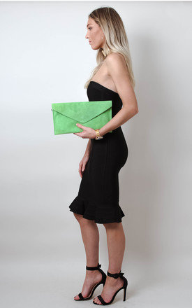 Lime Green Suede Envelope Clutch Bag by Pretty Lavish