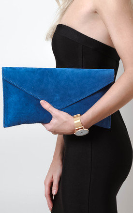 Denim Blue Suede Envelope Clutch by Pretty Lavish Product photo