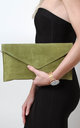 Olive Suede Envelope Clutch Bag by Pretty Lavish