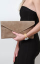 Taupe Suede Envelope Clutch Bag by Pretty Lavish