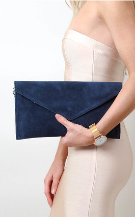 Navy Suede Envelope Clutch Bag by Pretty Lavish Product photo