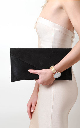 Black Suede Envelope Clutch Bag by Pretty Lavish Product photo