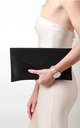 Black Suede Envelope Clutch Bag by Pretty Lavish