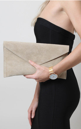 Beige Suede Envelope Clutch Bag by Pretty Lavish Product photo