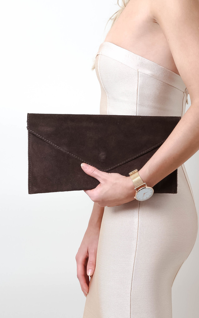 Brown Suede Envelope Clutch by Pretty Lavish