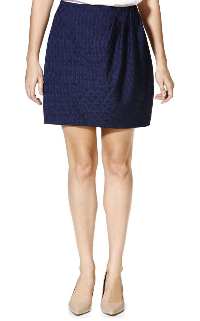 Navy Pleated Detail Skirt by Cutie London