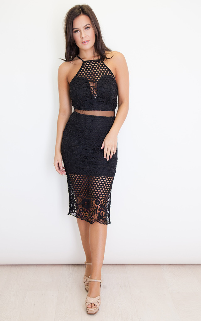 Lexi Lace Strappy Midi Dress Black by Girl In Mind