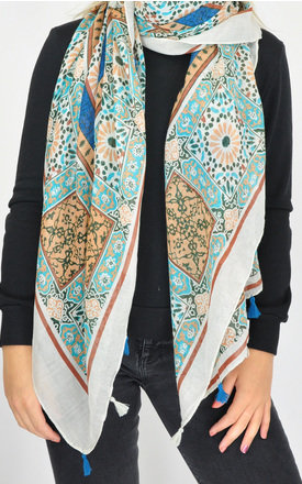 MULTI PATTERNED WOVEN OVERSIZED TASSEL SCARF in Beige by GOLDKID LONDON
