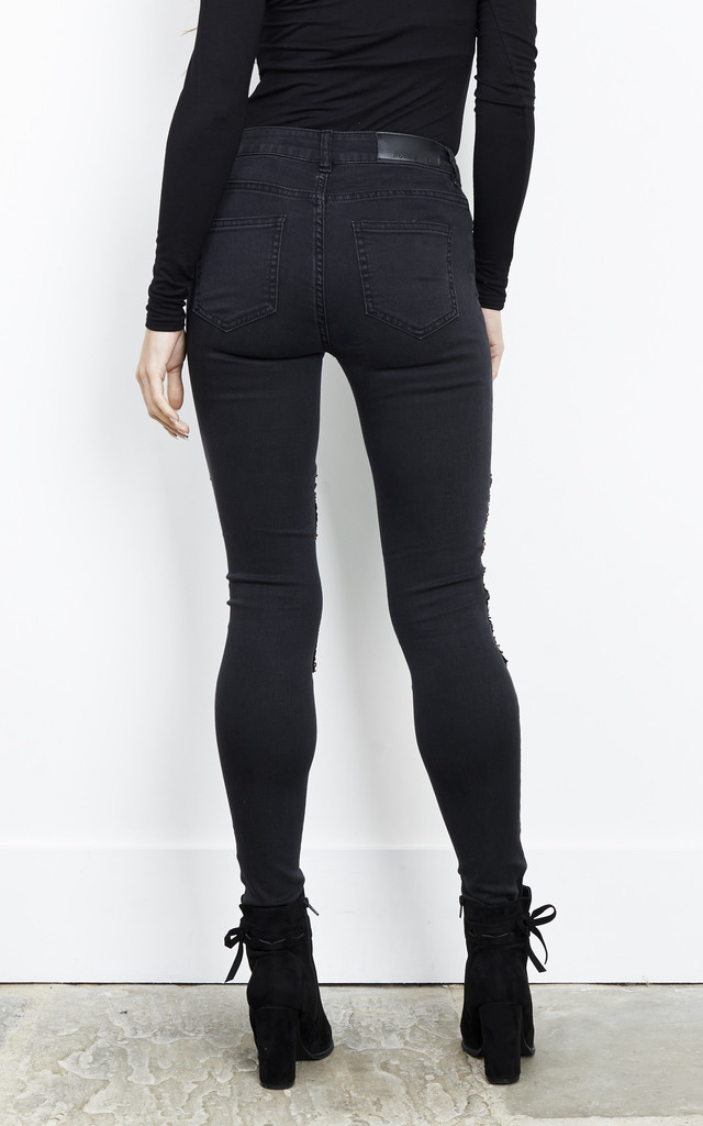 Black Sequin Knee Jeans by Noisy May
