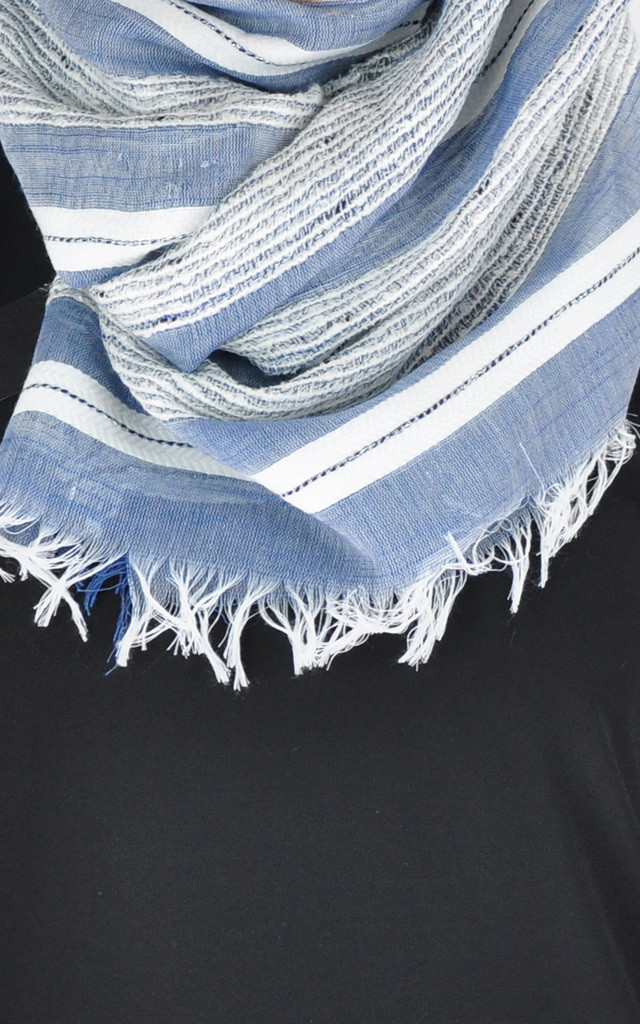 Frayed scarf in blue/white stripe by GOLDKID LONDON