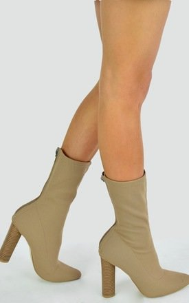 Knit Ankle Boot With Round Wooden Heel - Mocha/Beige by AJ | VOYAGE